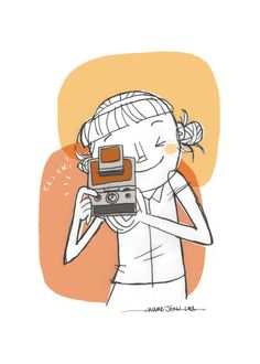 SX-70 Camera Girl 5x7 print by Ward Jenkins on Etsy.