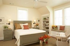 Inspired Room - Gracious Guest Bedrooms - Southernliving. The designer of this furniture was inspired by a door frame in a historic Lowcountry cottage. Though this bedroom is graciously sized, the architect took advantage of the dormers to build in shelves and window seats.
