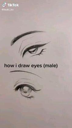 Anime Drawings Sketches, Cool Art Drawings, Pencil Art Drawings, Beautiful Drawings, Digital Art Tutorial, Digital Painting Tutorials, Art Tutorials, How To Draw Anime Eyes, Anime Eyes Drawing