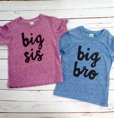 big bro big sis sibling shirts for birth announcement hospital outfit with newborn Colors- red, blue, grey, mint, purple- boys girl kids shirt