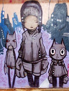Barcelonetta street art trio by Jasmic, via Flickr #streetart #arturbain #Graffiti #mural #fresque #art #artiste #photographiederue #street