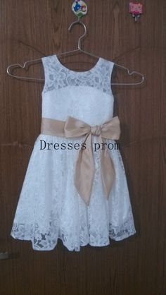 White  Lace Flower Girl Dress Infant Toddler PAGEANT Bridal Party Dress with champagne Sash by Dressesprom on Etsy https://www.etsy.com/listing/201025383/white-lace-flower-girl-dress-infant