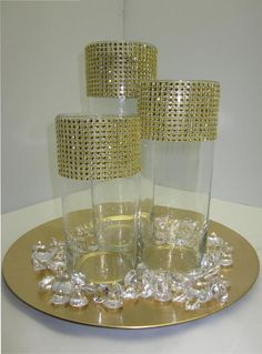 Set of 3 Rhinestones in Gold Centerpieces