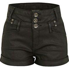 River Island black high-waisted shorts