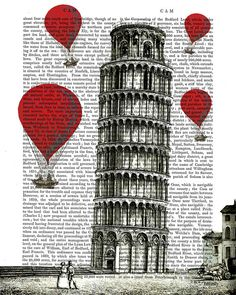 The infamous Leaning Tower of Pisa with red balloons in the sky around. This is a print of an original illustration by FabFunky.