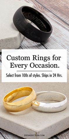 Create unique custom rings for a loved one or a special occasion. Save 30% and receive free shipping when you customize today! Ships in 24 hours, custom wedding rings, birthstone rings, name ring and more! When all your searching for a unique gift is exhausted, select from 100s of Eve's Addiction personalized ring styles to celebrate any birthday and anniversary or to make a perfect Christmas gift or wedding gift. #giftideas