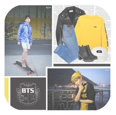 """Lost--- BTS"" by alicejean123 ❤ liked on Polyvore featuring Yves Saint Laurent, HUF, Maje and Monki"