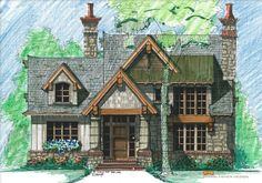 Mountain Cottage Front Elevation -- Natural Element Homes