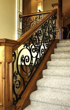 How to decorate stairs stairways banisters ideas Modern Stair Railing, Wrought Iron Stair Railing, Stair Railing Design, Stair Handrail, Staircase Railings, Modern Stairs, Staircases, Banisters, Banister Ideas