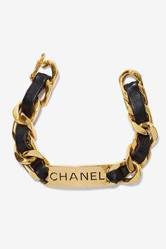 Vintage Chanel Leather Chain Bracelet - Accessories   Chanel