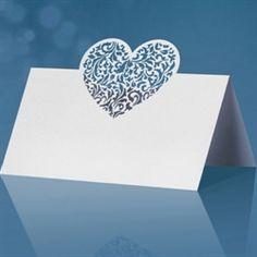 Personlige bordkort til konfirmation og bryllups fest med filigranhjerte