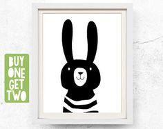 Rabbit print, Animal print nursery, Nursery animal art, Black white nursery, Kids wall art, Rabbit printable, Scandinavian art, 8x10, 11x14
