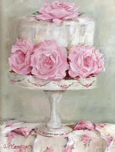 Shabby Chic Art - Celebration Cake by Gail McCormack Arte Shabby Chic, Shabby Chic Salon, Vintage Diy, Cupcake Torte, Cupcakes, Chic Retro, Painted Cakes, Decoupage Paper, Everything Pink