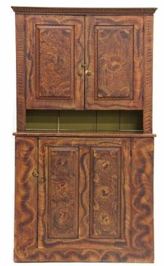 New England Grain Painted Stepback Cupboard, first half 19th c....~♥~
