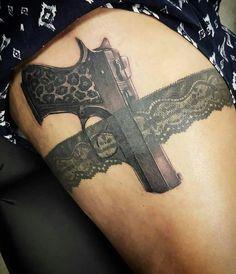 unique Tattoo Trends - 36 Gun In Garter Tattoo Designs That Are Guaranteed To Drive Men Crazy - TattooBlend Dope Tattoos, Body Art Tattoos, Small Tattoos, Sleeve Tattoos, Tatoos, Crown Tattoos, Gun Tattoos, Tattoo Band, Lace Tattoo