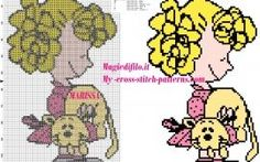 cross stitch pattern Sally Brown peanuts with kitten in her arms - free cross stitch patterns simple unique alphabets baby Beaded Cross Stitch, Cross Stitch Patterns, Sally Brown, C2c, Plastic Canvas Patterns, Doll Accessories, Needlework, Free Pattern, Kitten
