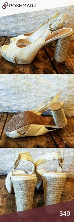 Gianni Bini Ivory Slingback Espadrille Pumps Who says you can't wear white after Labor Day? Fun and flirty Gianni Bini platform sandals in ivory cream pair well with just about anything and are comfortable and fun. Twine-wrapped heel and platform gives these a decidedly beachy appeal. Bring some effortless style into your closet this fall and channel the balmy salt air and the laid back vibe of endless summer. Excellent condition. Twine is perfect and there is very light wear on the soles…