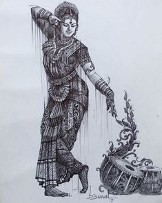 Art Work by Bijay Biswaal Art Work Credit: Bijay Biswaal Art Studio . Abstract Pencil Drawings, Dark Art Drawings, Indian Women Painting, Indian Art Paintings, Girl Drawing Sketches, Doodle Art Drawing, Drawing Ideas, Indian Art Gallery, Dancing Drawings