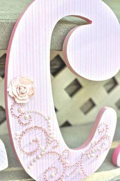 Custom Nursery Letters Baby Girl Nursery Decor-Pink and Grey