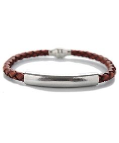Mens Woven Leather Bracelet Brown Crafted in Spain