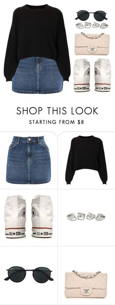 """Denim Skirt"" by vany-alvarado ❤ liked on Polyvore featuring Topshop, Converse, Ray-Ban and Chanel"