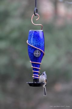 This gorgeous bird feeder was created by Rebecca Nickols using a recycled glass water bottle, some decorative copper wire, and a product made by Gadjit. It is a simple concept, a plastic feeder bas...