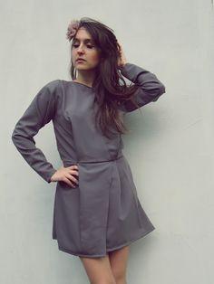 Lilac grey long sleeve dress