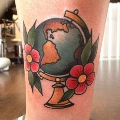 Billedresultat for american traditional globe tattoo