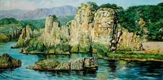(North Korea) 집선봉 in Mt Geumgang by Lee Kyeong-suk (1936-  ). born in Seoul. South Korea later North Korea.