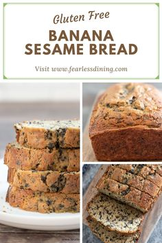 No fancy gluten free flour blends needed. For this special gluten free black sesame banana bread all you need is rice flour. It is so easy to make this moist and delicious banana loaf. If you can't eat sesame seeds, you can substitute chocolate chips. fearlessdining Good Gluten Free Bread Recipe, Gluten Free Banana Bread, Gluten Free Flour, Gluten Free Recipes, Bread Recipes, Sesame Seeds Recipes, Black Sesame, Gluten Free Dinner, Gluten Free Breakfasts