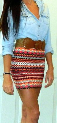 Multicolored tribal patterned mini skirt