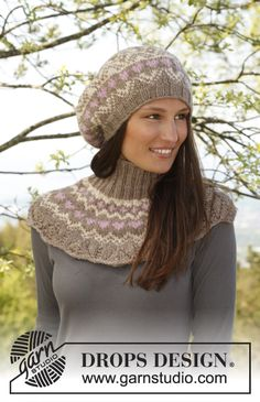 """Celebrate DROPS Alpaca Party with: Knitted DROPS beret and neck warmer with pattern in """"Nepal"""". ~ DROPS Design"""