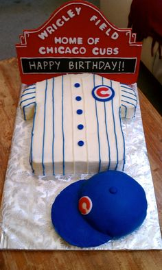 Chicago Cubs/Wrigley Field Birthday Cake with Cubs Baseball Cap