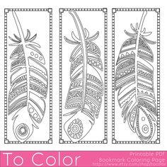 Plumas para imprimir para colorear marcadores de página para adultos, PDF / JPG, Instant Download, libro, para colorear para colorear la hoja, Grown Ups, sello Digital