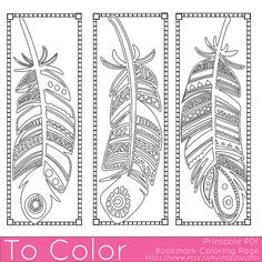 Printable Feathers Coloring Page Bookmarks for Adults, PDF / JPG, Instant Download, Coloring Book, Coloring Sheet, Grown Ups, Digital Stamp