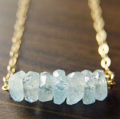 SALE Gold Layer Necklace Aquamarine & Quartz Point by friedasophie
