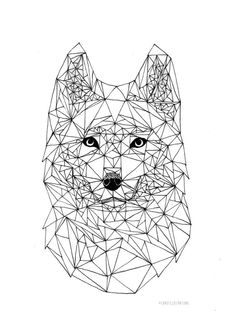 Wolf geometric drawing made with 0.1 pen. Size A4. Printable download