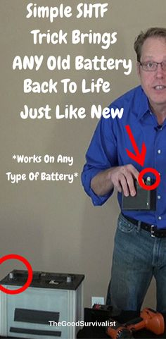 Survival Tip-If an SHTF or survival situation should happen batteries are one of the first things people try and get. This simple SHTF trick will show you how to bring ANY type of battery back to life. http://www.thegoodsurvivalist.com/do-this-to-bring-any-old-battery-back-to-life-just-like-new/ #survivaltips #preparedness