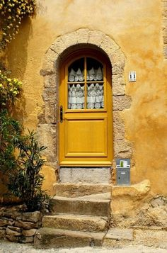 Mustard yellow door by Caught my eye