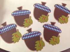 Acorn tags made with Cricut. Used Autumn Celebrations 2  at 3.8 and Botanical Font at .7 cartridges.