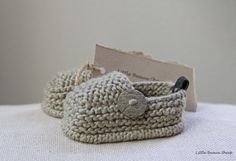 Hand Knitted Organic Cotton Baby Booties Loafers with Buttons Sizes 0-12 M