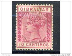 ULTRA RARE GIBRALTAR 10 CENTIMOS 1888 ROSE USED MINT STAMP TIMBRE - Gibraltar