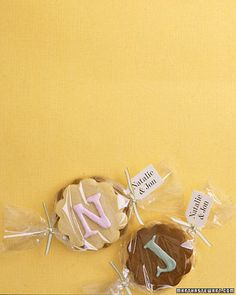 Monogrammed Cookies  Monogrammed favors are wedding classics. Stack iced cookies back to back, wrap in cellophane, and tie ends with ribbon. Monograms can also be made by cutting dough into letters or twisting ropes of it into shapes. An initial could be in contrasting dough, or piped onto still-wet icing.