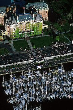 Swiftsure Race yachts in front of the Empress Hotel, Victoria, Vancouver Island, British Columbia, Canada