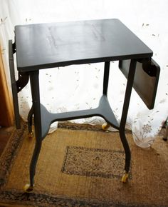 vintage drop leaf typeriter table stand gray metal by gleaned, $60.00