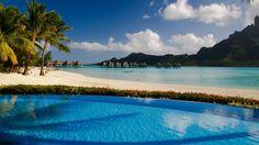 Le Meridien Bora Bora Beautiful Sandy Beaches, Bungalows Houses A Water Tropical Trees, Palm Trees, Beautiful Scenery Hd Wallpaper : Wallpapers13.com