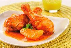 Kurczak z gruszkami / Chicken legs with Pears - pałki z kurczaka, pieczone w sosie słodko-kwaśnym z dodatkiem dojrzałych gruszek