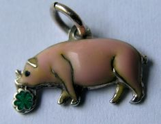GERMAN SILVER & ENAMEL 'LUCKY' PINK PIG w/ CLOVER CHARM