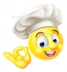 Buy Chef Cook Emoji Emoticon by Krisdog on GraphicRiver. An emoji emoticon smiley face character dressed as a chef with a cooks hat giving a perfect or okay sign with his hand Love Smiley, Emoji Love, Cute Emoji, Funny Emoji Faces, Emoticon Faces, Animated Emoticons, Funny Emoticons, Wallpaper Emoticon, Images Emoji