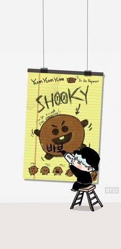 Shooky and Min Yunki~~~~~~~~ Bts Chibi, Bts Suga, Jhope, Kpop Iphone Wallpaper, Chibi Wallpaper, K Pop, Fandom Kpop, Kpop Backgrounds, Bts Drawings